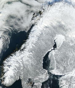A satellite image of continental Norway in winter