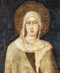Clare of Assisi (1194–1253), founder of the Poor Clares, in a painting by Simone Martini (1284–1344) in the Basilica of San Francesco d'Assisi