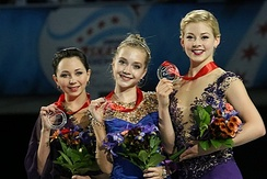 From left to right: Elizaveta Tuktamysheva (2nd), Elena Radionova (1st), and Gracie Gold (3rd).