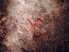 Drawing of a swastika on the Snoldelev Stone.