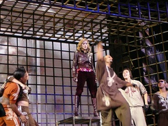 "Madonna performing the album's second single, ""Sorry"", during the Confessions Tour. The song became Madonna's twelfth number one single in the United Kingdom."