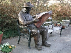 Reading the newspaper: Brookgreen Gardens in Pawleys Island, South Carolina.