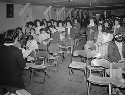 Sunday school, Manzanar War Relocation Center, 1943. Photographed by Ansel Adams.