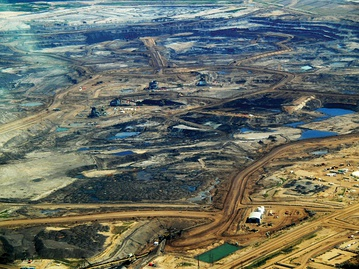 Tar sands in Alberta, 2008. Oil is one of the most used resources by humans.