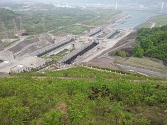 The other end of Three Gorges Dam lock; note the bridge in the background