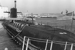 Nuclear ballistic missile submarine USS Sam Rayburn. In commission as a submarine from 1963 to 1989. Now in service as a moored training ship for the U.S. Navy.