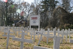 A memorial in North Carolina in December 2007; U.S. casualty count can be seen in the background[316]
