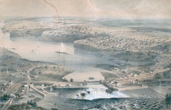 View of Ottawa in 1859, prior to the start of construction on Parliament Hill. Two years prior, Queen Victoria selected the city as the permanent capital of the Province of Canada.