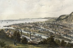 Docks and railway bridge (1850)