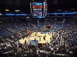 The Timberwolves conduct pre-game warm-ups at their home Arena, the Target Center