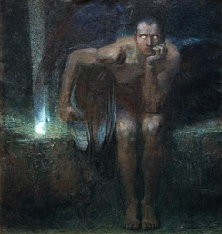 "Lucifer (1890) by Franz Stuck. Because of Patristic interpretations of Isaiah 14:12 and Jerome's Latin Vulgate translation, the name ""Lucifer"" is sometimes used in reference to Satan.[107][108]"