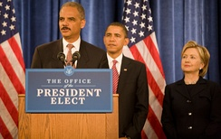 Holder with Barack Obama and Hillary Clinton on December 2, 2008