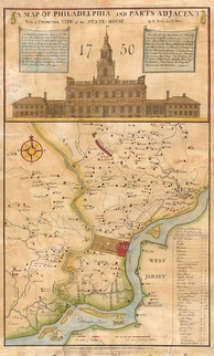 An 18th-century map of Philadelphia, circa 1752
