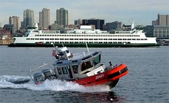 A U.S. Coast Guard 25-foot (8 m) Defender Class Response Boat – Small (RB-S)