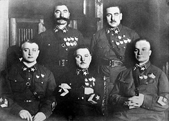 First five Marshals of the Soviet Union in 1935. Only two would survive the Great Purge