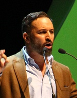Santiago Abascal, leader of VOX, during the party conference in October 2018.