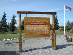A monument at the northern terminus of the Alaska Highway (Delta Junction)