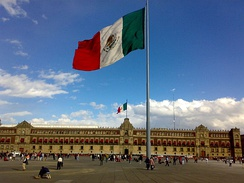 The National Palace on the east side of Plaza de la Constitución or Zócalo, the main square of Mexico City; it was the residence of viceroys and Presidents of Mexico and now the seat of the Mexican government.