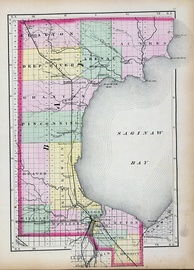 Bay County in 1873; a decade later Arenac County was organized from the northern townships seen in this map.[7]
