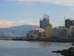 View of the Saint George Bay, and snow-capped Mount Sannine from the Corniche, Beirut