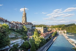 The Old City of Bern with the Minster and its platform above the lower Matte quarter and the Aare