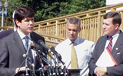 Blagojevich with then Congressman, then Mayor Rahm Emanuel (D-Chicago) advocating for changes in Medicare legislation.