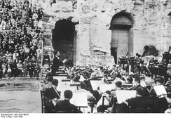 Herbert von Karajan and the Orchestra of the Athens Conservatory (later to become the Athens State Orchestra) at the Odeon of Herodes Atticus (1939)