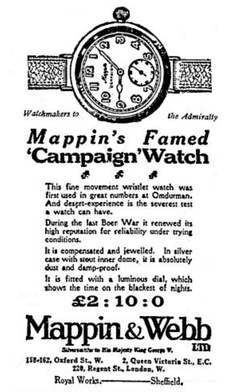 Mappin & Webb's wristwatch, advertised as having been in production since 1898.