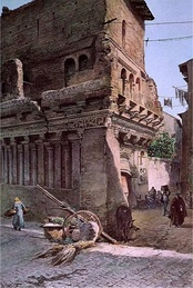 The so-called Casa di Rienzi still in its urban context before the opening of the Via del Mare in a watercolour by Ettore Roesler Franz (about 1880).