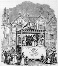 A 14th/15th-century performance of the Chester mystery plays, on a pageant cart