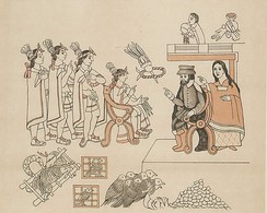Cortés and his counselor, the Nahua woman La Malinche, meet Moctezuma in Tenochtitlan, 8 November 1519