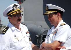 Vice Admiral Kevin Cosgriff, commander, U.S. Naval Forces Central Command, meets with Vice Admiral, Azerbaijani Navy, Shahin Sultanov during his visit to Baku, Azerbaijan