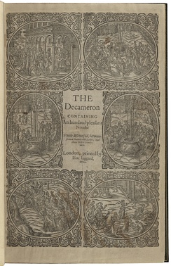 A copy of Boccaccio's The decameron containing an hundred pleasant nouels. Wittily discoursed, betweene seauen honourable ladies, and three noble gentlemen, printed by Isaac Jaggard in 1620.