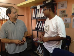 Deepak S. Bhatia, CEO of Make-A-Wish, India with Wikipedian in Kolkata Office on April 1 , 2017.
