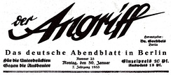 Masthead of Der Angriff from 30 January 1933 (Machtergreifung of Adolf Hitler)