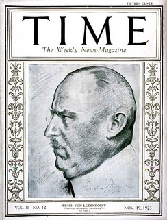 Erich Ludendorff on the cover of Time, 19 November 1923.