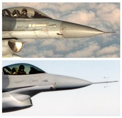 Testing of the F-35 diverterless supersonic inlet on an F-16 testbed. The original intake with Splitter plate is shown in the top image