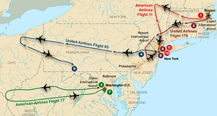 Flight paths of the four planes used on September 11