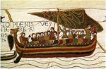 Norman ship of the invasion fleet, Bayeux Tapestry, 11th century