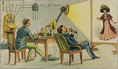 Video telephony predicted to be in use by the year 2000, as envisioned in 1910 (artist's conception)