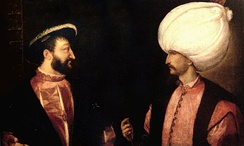 Francis I (left) and Suleiman the Magnificent (right) initiated a Franco-Ottoman alliance.  Both were separately painted by Titian circa 1530.