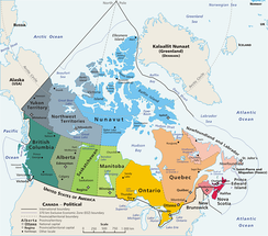 An enlargeable map of Canada, showing its ten provinces and three territories.