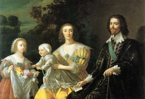 Buckingham with his wife Katherine Manners, their daughter Mary and son George. Gerrit van Honthorst, 1628