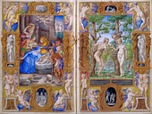 Farnese Hours, an example of a Renaissance illuminated page; by Giulio Clovio; 1537-1546; illumination on parchment; height: 17.1 cm, width: 11.1 cm; Morgan Library & Museum (New York City)