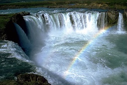 The Goðafoss waterfall, named after the pagan idol statues thrown into it, after the adoption of Christianity