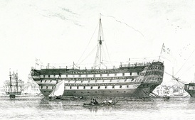 HMS Dreadnought, a lazaretto (quarantine ship) at Milford on Sea from 1827 and second of the society's ships from 1831