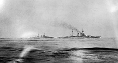 HMS Warspite and Malaya, seen from HMS Valiant at around 14:00 hrs