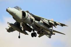 A Harrier in No. 1 Squadron markings at RAF Cottesmore.