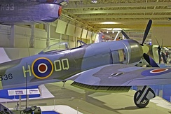 A preserved Tempest II, PR536, on display at the Royal Air Force Museum London, Colindale, London