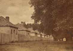 1870s photo of the brick slave quarters at Hermitage Plantation (now destroyed) near Savannah, Georgia